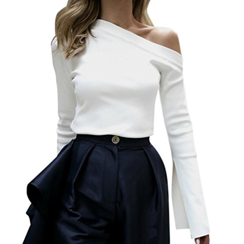 Kolylong® Sweatshirt damen Frauen Elegant Schulterfrei Oberteil Vintage Langarm Bluse mit Trompetenärmel Slim Fit Shirt Off Shoulder Pullover Jumper T-Shirt Tunika (Weiß, XL)