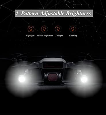 Crazepony-UK Dji Spark Accessories LED Light Kit Small Flashlight Long-Range Luminosity Adjustable Spark Drone Fill Flash,Night Cruise,Night Searching,Flash Warning,Direction Guide
