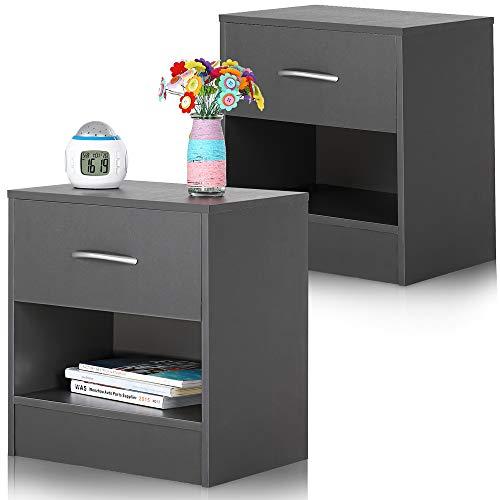 Deuba Nachttisch 2er Set Grau Schublade mit Griff & Ablagefach 39x28x41 cm Holz Nachtkommode Nachtkonsole Nachtschrank -