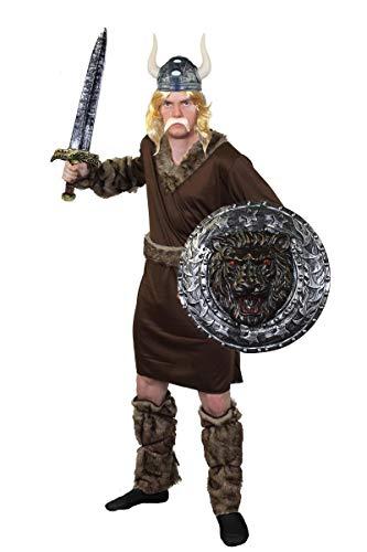 ILOVEFANCYDRESS SUPER Wikinger KOSTÜM VERKLEIDUNG DER Ragnar KLASSE= MIT Schild+Schwert+Helm+PERÜCKE+Schnurrbart=PERFEKT FÜR Jede Art DER KRIEGERISCHEN SEEFAHRER ()