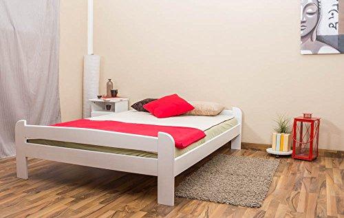 Futonbett / Massivholzbett Kiefer Vollholz massiv weiß lackiert A11, inkl. Lattenrost - Abmessung 140 x 200 cm