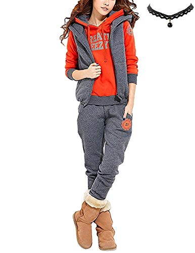 M-Queen Damen Casual Sportanzug Jogginganzug Einfarbig Kapuzenpullover Trainingsanzug Kapuzenjacke Sweatshirt+Sporthose+Weste (S=EU34-36, Orange)