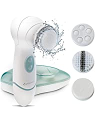 Facial Cleansing Brush MYCARBON IPX5 Waterproof Facial Exfoliating Brush Set 4 In 1 Portable Electric Facial Massager for All Skin Care Batteries Included