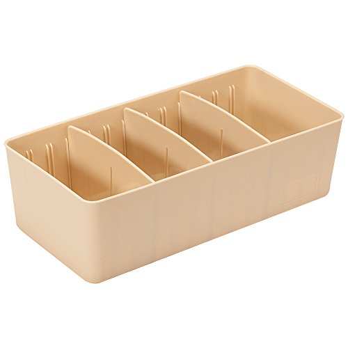 Lanlan Kunststoff verstellbar Freiheit Platz Aufbewahrungsbox für Unterwäsche Socken Closet Organizer Jewelry Container einreihig Khaki (Khaki Schokolade)