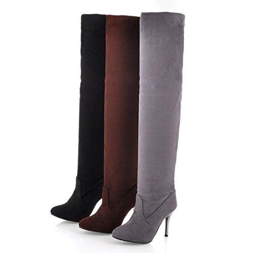 ESAILQ Point Toe à Talon Haut Bottes Femmes Automne Hiver Chaussures Aménagée Simples Bottes