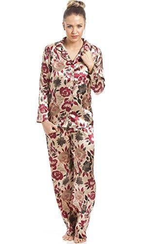 Camille - Damen Schlafanzug aus Satin mit Blumenmuster - gold 44 (Satin Floral Pyjama)