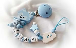 Baby Schnullerkette Fuchs für Jungen mit Wunschnamen - Kinder - Geschenk zur Geburt, Taufe - Länge: max. 22cm (ohne Clip) - (Babyblau, Weiß, Wolke)