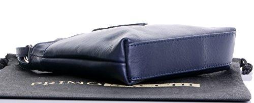 Italiano in morbida pelle, piccolo cinturino fronteggiato triplo vano cinghia regolabile croce corpo o borsa a tracolla.Include una custodia protettiva marca. Blu navy