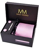 MASSI MORINO Uomo Designer Cravatta - Box Set con fazzoletto, Gemelli e Fermacravatta X cucita a mano in microfibra in colori assortiti - confezione regalo (rosa scacchi)