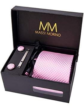 Massi Morino Hombre Designer Corbata – Caja Conjunto con pañuelo, Gemelos y Aguja de Corbata, Ropa y Accesorios...