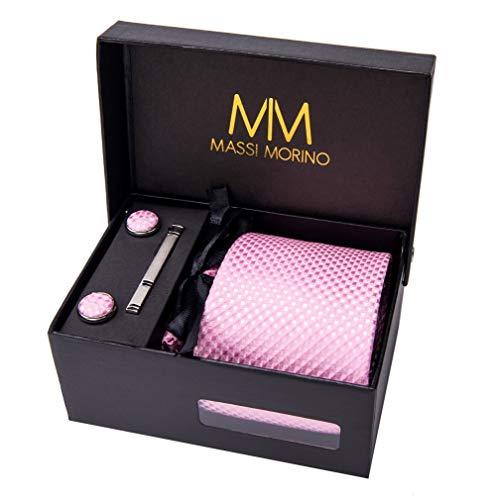 Massi Morino Hombre Designer Corbata – Caja Conjunto con Pañuelo, Gemelos y Aguja de Corbata, Ropa y Accesorios de Hombre (Rosa Cuadros)