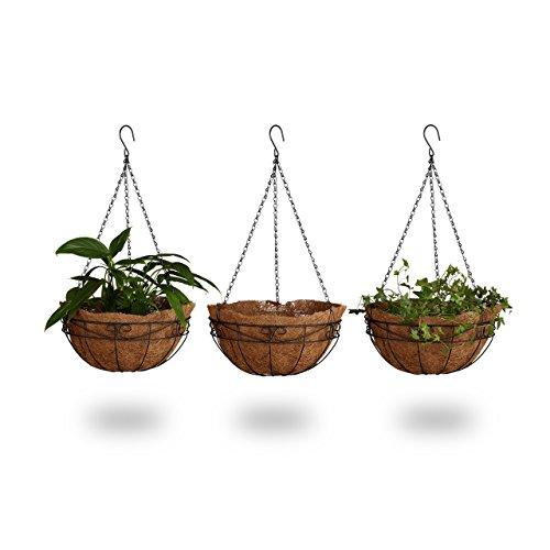 Relaxdays Pot de fleurs suspendu panier plantes coco lot de 3 avec chaîne 33 litres de volume 35 cm diamètre, marron