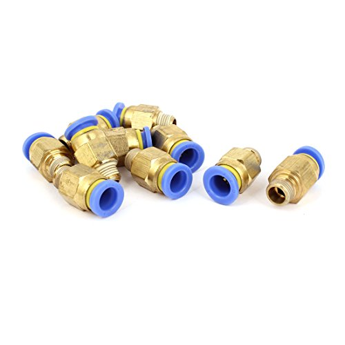 sourcingmap Coupler Racor Joint Link Adapter Quick Connector Pneumatic Air Air Connections Tube 8mm 1 / 8 'BSP Male Thread 10 Parts