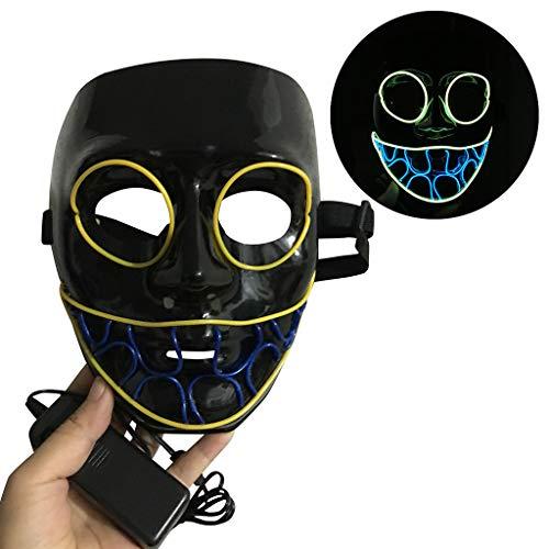 LED Maske Purge Maske für Halloween Fasching Karneval Party Kostüm Cosplay Dekoration Halloween Gruselige Maske Gruselige Halloween Maske mit Glatze White Evil Big Head Clown (Awesome Kostüm Für Erwachsene)