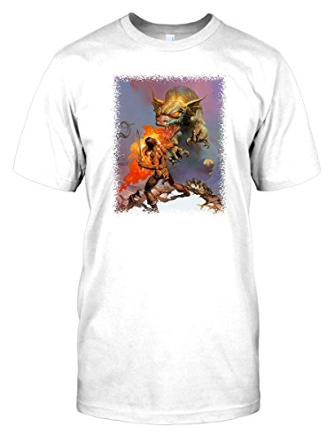 Mens White Dragon Shirt (Mens t-shirt DTG Print - Dragon Slayer - Fantasy - - White - Mens 46-48