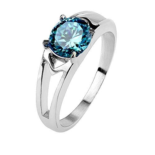 Mianova Damen Ring Verlobungsring Edelstahl poliert mit Zirkonia Solitär Stein in Diamant Form Damenring Trauring Silber Aqua Größe 61 (19.4) (Antik Aquamarin Ringe)