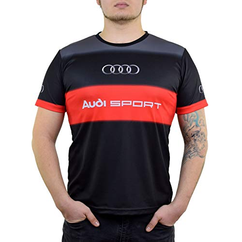 Audi SLine Sport Gecko Dryfit Graphic T Shirt for Men - Mens Fitted Tshirts with Moisture Wicking Fabric - Audi DTM Racing Apparel (L) -