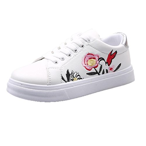Damen Sneakers | Stoffschuhe Spitze Stickerei Blume| Sneaker Low Nieten | Sport Laufschuhe| Damenschuhe Turnschuhe | Kleine weiße Schuhe | cinnamou (35, Weiß) (Größe 10-plattform Turnschuhe)