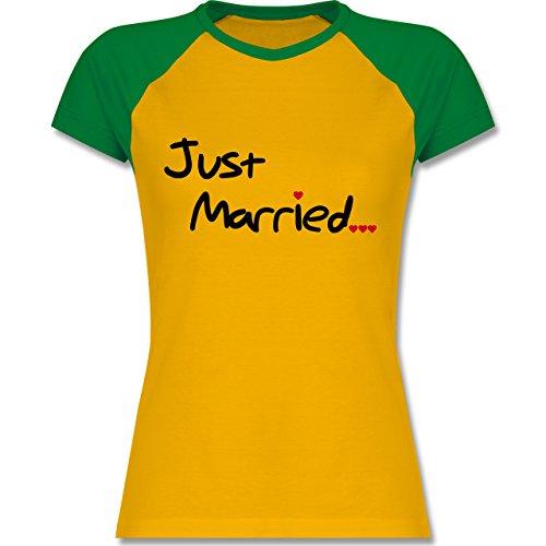 Shirtracer JGA Junggesellinnenabschied - Just Married - Zweifarbiges  Baseballshirt/Raglan T-Shirt für Damen