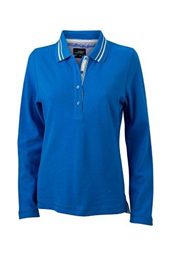 Polo manica lunga con dettagli alla moda Ladies' Polo Long-Sleeved cobalt/off-white