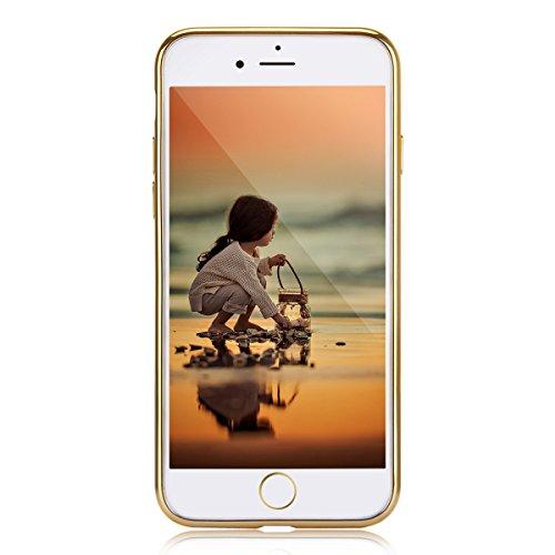 EUWLY Coque pour iPhone 7/8,iPhone 7/8 Coque Silicone Étui Ultra Mince Housse,Bling Glitter Brillant Cristal de Diamant de Luxe iPhone 7/8 Souple Coque Etui en Silicone TPU Case Soft Cover,Miroir Arri D'or