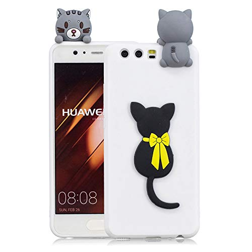 Klassische Klappe Tasche Jeans (Huphant Huawei P10 hülle Silikon, Silikon Case Huawei P10 Ultra dünn Hybrid Schutz Tasche Rückseite Schale Etui Stoßdämpfend Defender Protective Schutzhülle Huawei P10 -Schwarze Katze)