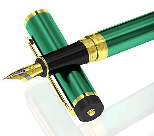 Dryden Luxus Füllfederhalter [Satin Grün]   Moderne Klassik Limited Edition   Executive Füllhalter Set   Vintage Kugelschreiber Collection   Kalligraphie Ink   Ink Refill Konverter