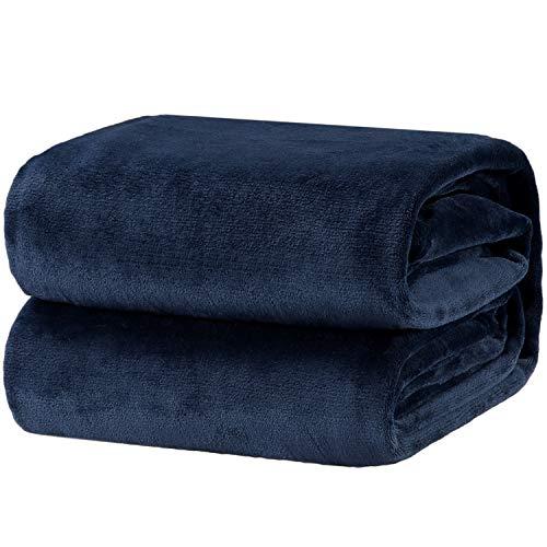 Bedsure Kuscheldecke 150x200cm Flauschige Wohndecke Blau Navy - hochwertige Decke warm & weich Microfaser flanelle Fleecedecke, Falten-beständig Anti-verfärben Sofadecke (Kunststoff-twin-bett-decke)