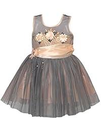 Chipchop Kids Girls Partywear Grey and Peach Sequins and Net Dress - 1 Year, 2 years, 3 Years, 4 Years, 5 Years