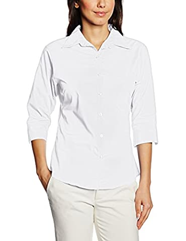 Premier Workwear Women's Ladies Poplin 3/4 Sleeved Blouse, White, 14