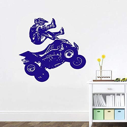 guijiumai Adesivo Quad ATV Quad Bike Quadrocycle Race Motor Quattro Ruote Extreme Sport Bike Racing Rider Adesivi murali in Vinile Room Decor Bianco 90x85 cm