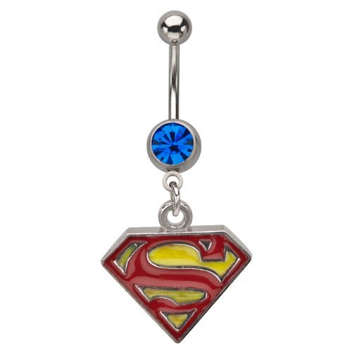 DC Comics Superman Shield Logo Blue Gem Dangle 14 Gauge Belly Button Ring (Belly Button Ring 14 Gauge)