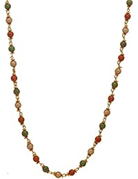 AdoreLabel Designer Gold Plated Multi-colour Beads Chain Necklace Matar Mala Party Wear For Women And Girls