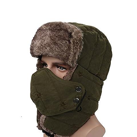 surblue Unisexe Trapper Trooper d'hiver chapeau cache-oreilles Russe ouchanka chasse Bomber Hat Large vert militaire
