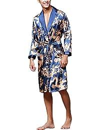 08c3bf995e Hombres Albornoz Batas de imitación de Seda camisón de Manga Larga Noble  Dragon Imprimir cómodo Kimono