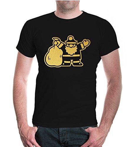 buXsbaum® T-Shirt Weihnachtsmann V1 Black-Gold