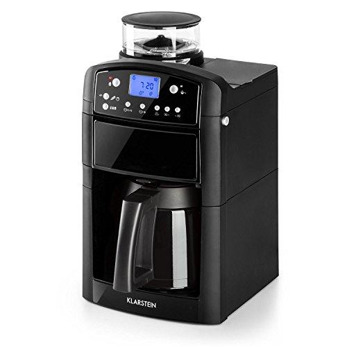 Klarstein Aromatica • machine à café filtre • filtre à charbon actif intégré • anti-éclaboussure • buse à vapeur • verseuse verre et thermos • minuterie 24 h • 10 tasses • filtre permanent • noir