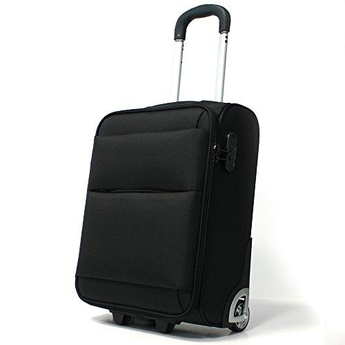 Pack.It Leichtgewichtiger Trolley, als Kabinenhandgepäck Geeignet, 2 Rollen, Schwarz, Zugelassen für Ryanair, Easyjet und Lufthansa