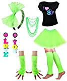 Wicked Costumes - Costume da donna anni '80, con maglietta I Love The 80', per feste a tema anni '80 Green 80