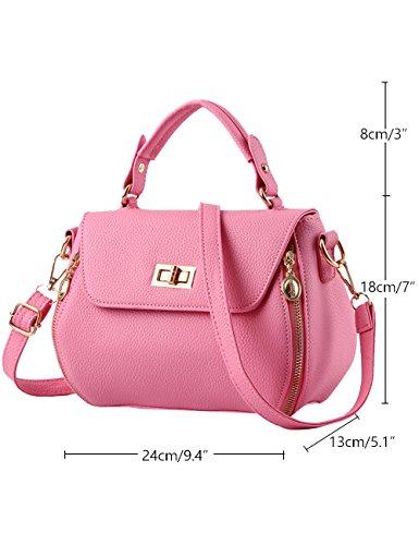 Menschwear Damen PU Handtaschen Damen Handtasche Schwarz Handtasche Schule Damen Handtaschen Sky-Blau Rosa