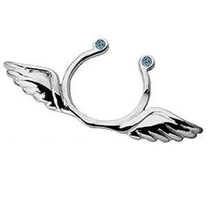 Brustwarzenschmuck Flügel, Brustclip Wings, Brustwarzen Clip Schmuck aus 925 Sterling Silber, Fake Piercing (Aquamarin (hellblau))
