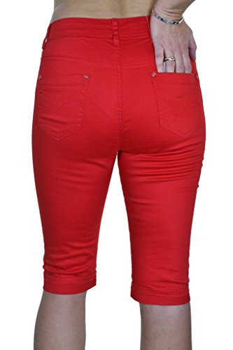 ICE (1518) Pantacourt en Jeans Moulant Extensible et Brillant à Revers Rouge