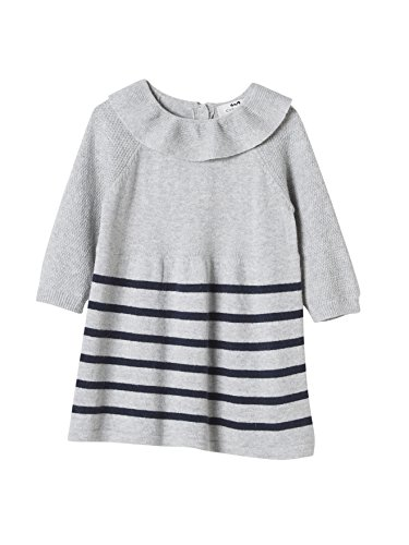 Cyrillus - Robe en tricot rayé bébé rayé gris chiné/marine-Rayé gris chiné/marine-24M