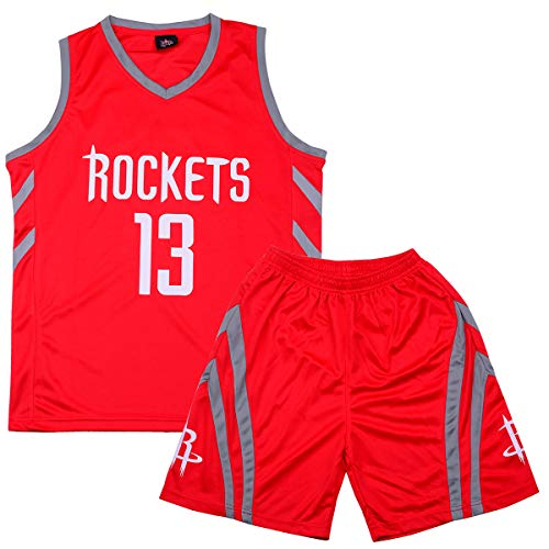 Sokaly Garçon Fille NBA Golden State Curry Jorden#23 James#23 Boston Basket Maillots T-Shirt et Shorts Sportwear Ensemble pour Enfant Teenager Basket-Ball(Taille 100-180cm) (XXL(Enfant), Rouge02)