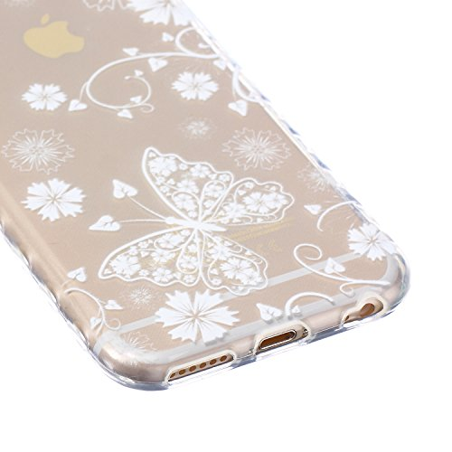 SainCat Custodia iPhone 6 6s 4.7 Pollice,Fashion Design Ultra Slim Morbido Flessibile Trasparente Soft TPU Gel SiliCon Thin Painting Case Caso Cover,Clear Sottile Copertina Antiurto Protecttivo Shell  White Butterfly