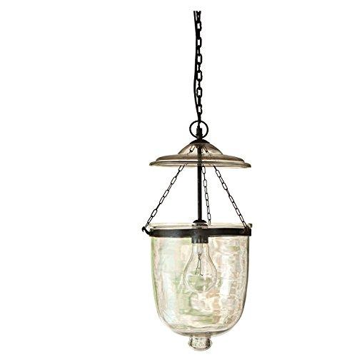 Loberon Hängelampe Lanta, Glas, Eisen, H/Ø 49/26 cm, klar, E27, max. 40 Watt, A++ bis E