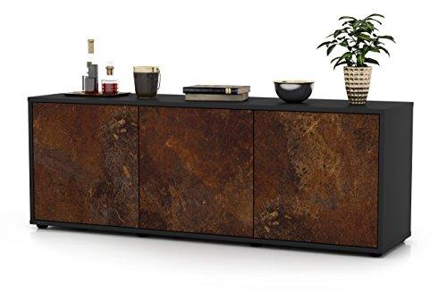 Stil.Zeit TV Schrank Lowboard Allegra, Korpus in Anthrazit Matt/Front im Rost Antik Industrie Design (135x49x35cm), mit Push-to-Open Technik, Made in Germany