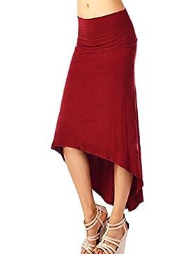 KKia Mujer Stretch Bodycon Oficina Hi-Lo Mediados de Alta Cinturón Lady Vestido Falda Lápiz