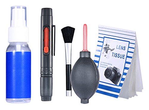 Neewer® 6-IN-1 professionelle Reinigungsset für Spiegelreflexkamera und empfindliche Elektronik (Canon, Nikon, Pentax, Sony, Teleskope und Ferngläser) - Lieferumfang: Objektiv Reinigungsstift + Objektivpinsel + Blasebalg + 50 Einweg Reinigungspapier + Handlich Leere Sprühflasche + 1 Premium Microfaser Reinigungstuch (6-zoll-kamera-tasche)
