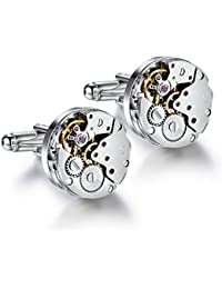 Koooper Cuff links Steampunk Vintage Watch Movement Shape Cufflinks Deluxe Cuff links for Men's Wedding Business Gifts Elegant Style with Delicated Gift Box